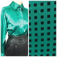 VINTAGE Emerald GREEN black squares geometric SiLK ? pleat Louis Feraud BLOUSE 8