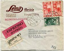 1951 Italia al Lavoro RACCOMANDATA Espresso Lema Gorizia Cioccolato FRAGD