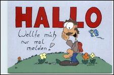 Karrich Karikatur Comic Figur Postkarte ungelaufen HALLO wollte mich melden