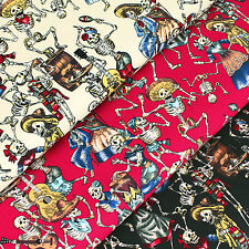 Cotton Fabric - FQ Skull Skeleton Pirate Cowboy Hat Scarf Beer Guitar Music VS21