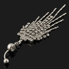 Belly Bar Navel Dangle Crystal Rhinestone Pendant Tassle Chain 316L Steel