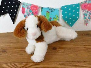"Animal Alley Brown Puppy Dog White Floppy Cow Calf Tan Stuffed Plush Toy 12"""