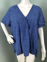 NWT Women's Michael Kors S/S Blue Floral Surplice Hi-Lo Blouse Top Sz XL