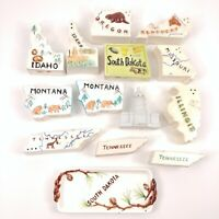 14 Single State Souvenir Ceramic Salt & Pepper Shakers Tennessee Montana OR KY
