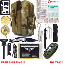 Compact MultiPurpose Survival Kit Outdoor Gear Military Camping Hiking First Aid
