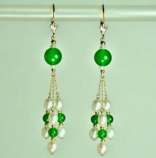 14k solid yell/gold natural Jade and freshwater White Pearl earrings leverback