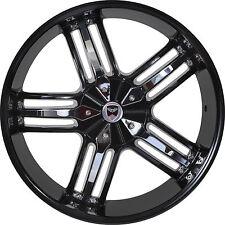 Set of 4 GWG Wheels 22 inch Black Chrome SPADE 22x9.5 Rims 6x139.7 ET18 CB78