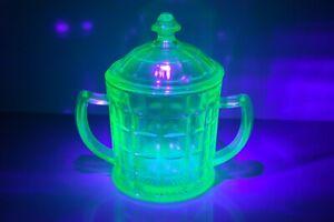 Vintage Green Depression Glass Sugar / Candy Dish w/ Lid - Uranium Glass
