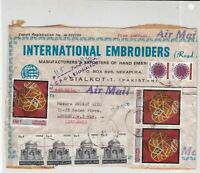 Pakistan Sialkot Internayional Embroidees Stamps Cover FRONT Ref 33223