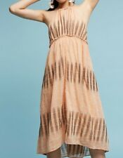 Anthropologie Dress PM Ikat Halter Orange Peach Medium Petite Swing New