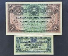 Mozambique lot 2 banknotes 1933 / 1934 perforated 5.11.1942