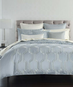 NEW Hotel Collection Marquesa Geo Embroidered KING Duvet Cover Pastel Blue  #211