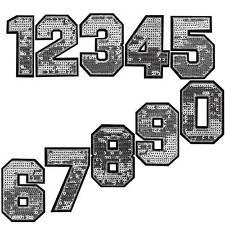 KUS 1Set Aufnäher Applikation Patchwork Bügelbild Zahlen 0-9 Schwarz 4.9cm