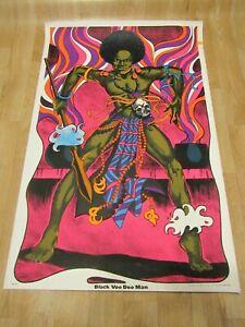 Vintage Original Black Voo Doo Man Blacklight poster 1970s Africa afro