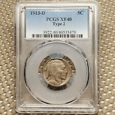 1913 D Type 2 Buffalo Nickel 5¢ Coin PCGS XF40 Copper-nickel 21.2mm KM# 134