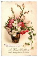 Antique colour printed postcard card A Happy Birthday vase of flowers