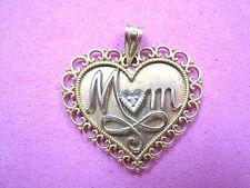 10K Yellow & White Gold Heart MOM Pendant Charm w/ Diamond Message Filigree Ma