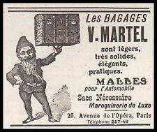 Publicité  Bagages  V . MARTEL lutin  imp   vintage print ad    1908 -2h