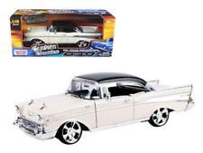 1957 Chevrolet Bel Air Hard Top Cream with Custom Wheels 1/18 Diecast Model Car