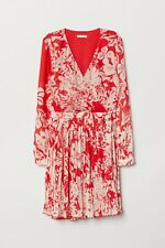 BNWT H&M Trend Red/White Floral Wrap Self Portrait Style Chiffon Dress SZ 8/34