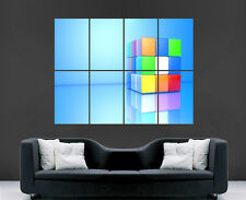 3D CUBE PUZZLE WALL POSTER MAGIC 80'S RETRO ART PICTURE PRINT LARGE  IMAGE