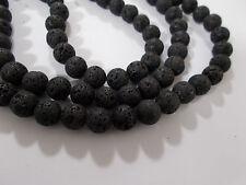 "38pcs 10mm NATURAL LAVA Black Dark Grey Round Gemstone Stone Beads (15"" Strand)"