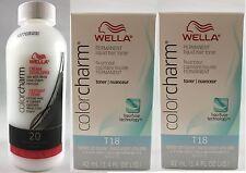Wella Color Charm T18 Lightest Ash Blonde x 2 + 20 Volume Cream Developer