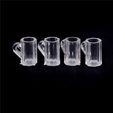 4pcs Dollhouse Miniature Plastic Clear Beer Mugs Cup Kitchen Accessory 1:12 ME