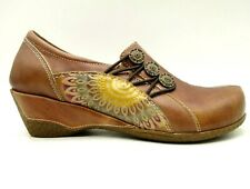 Spring Step L'Artiste Brown Leather Comfort Heel Clog Shoes Women's 36 / 5.5 - 6