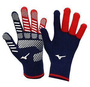 Mizuno Men KNIT Gloves Sports Navy Red Running Casual Soccer Glove 32JY950225