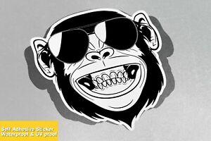 Monkey Face Gorilla Smiling Glasses Vinyl Sticker Decal Window Car Van Bike 4645