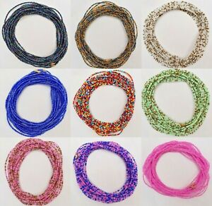 African Waist Beads - 3mm seed Beads Single Strand Sizes up to 50 Inches