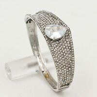 New Silver Tone Rhodium Plated Clear Crystal CZ Oval Bangle Cuff Bracelet 00572