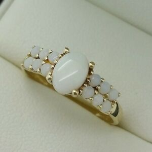 9ct Yellow Gold Opal Set Ring, Finger Size P