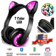 Wireless Bluetooth LED Cat Ear Headphones 7-Color Changing Glowing Headsets
