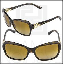 BVLGARI 8153B Diva Brown Gold Square Women Polarized Sunglasses 504/T5 BV 8153