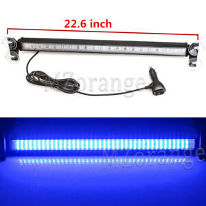 80 LED Blue Car Strobe Warning Light Bar Flashing Signal Emergency Beacon