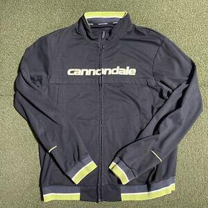 Cannondale Jacket Mens XL Black Green Full Zip Logo Long Sleeve Cycling