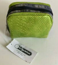 NEW! LESPORTSAC GREEN SNAKE SQUARE COSMETIC POUCH BAG ORGANIZER CLUTCH $18 SALE