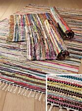 Fair Trade Indian Rag Rug Mat Colourful 100% 75cm X 120cm Multi-coloured New