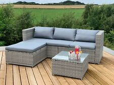 More details for victoria rattan garden furniture corner sofa lounge chase set in/outdoor