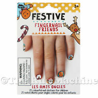 FINGERNAIL FRIENDS - Festive Xmas - Nails Stickers for Kids Fun Gift Play **NEW*
