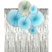 Blue Paper Fans Silver Foil Fringe Curtain Birthday Party Decorations Set Bridal