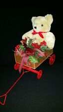 Teddy Bear Reading Book in Wooden Wagon Christmas Holiday Decoration Centerpiece
