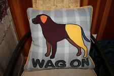 Dog design multi-color fabric throw pillow 18 x 18