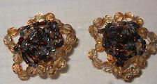 Orecchini vintage a clip vetro sfaccettato perline vetro Earrings V3 ^