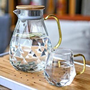 1.5L Diamond Texture Glass Teapot Set Jug Transparent Water Carafe Heat-Resistan