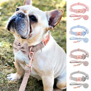 Cute Dog Collar and Leash Set Personalised Nameplate Nylon Bow Tie Chihuahua S-L