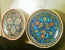 2 ISLAMIC wall hanger middle eastern pottery plate vtg persian art painting