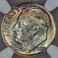 1957 Roosevelt Dime - NGC MS 65